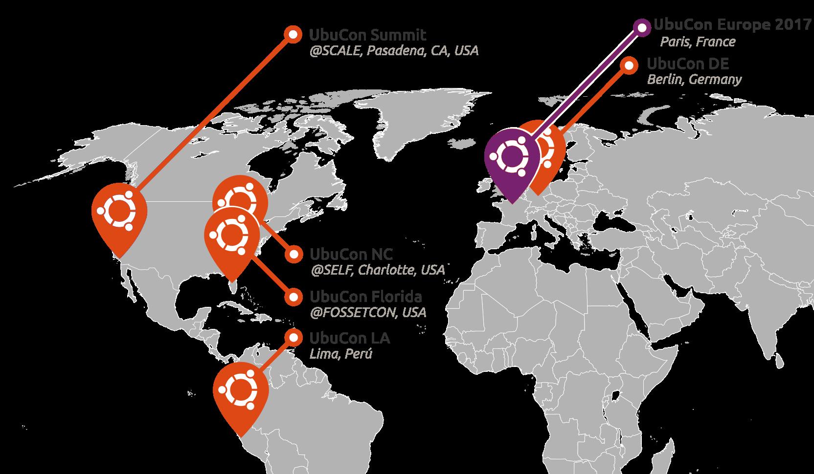 Carte des Conf�rences Ubuntu (UbuCon)